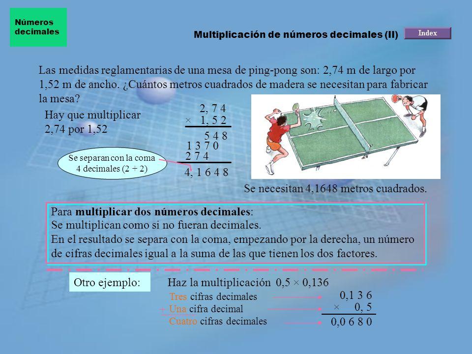 Las magnitudes de una mesa son 2,75 m de largo por 1,25 m de ancho. Los metros cuadrados de madera necesarios para fabricarla vienen dados por el prod