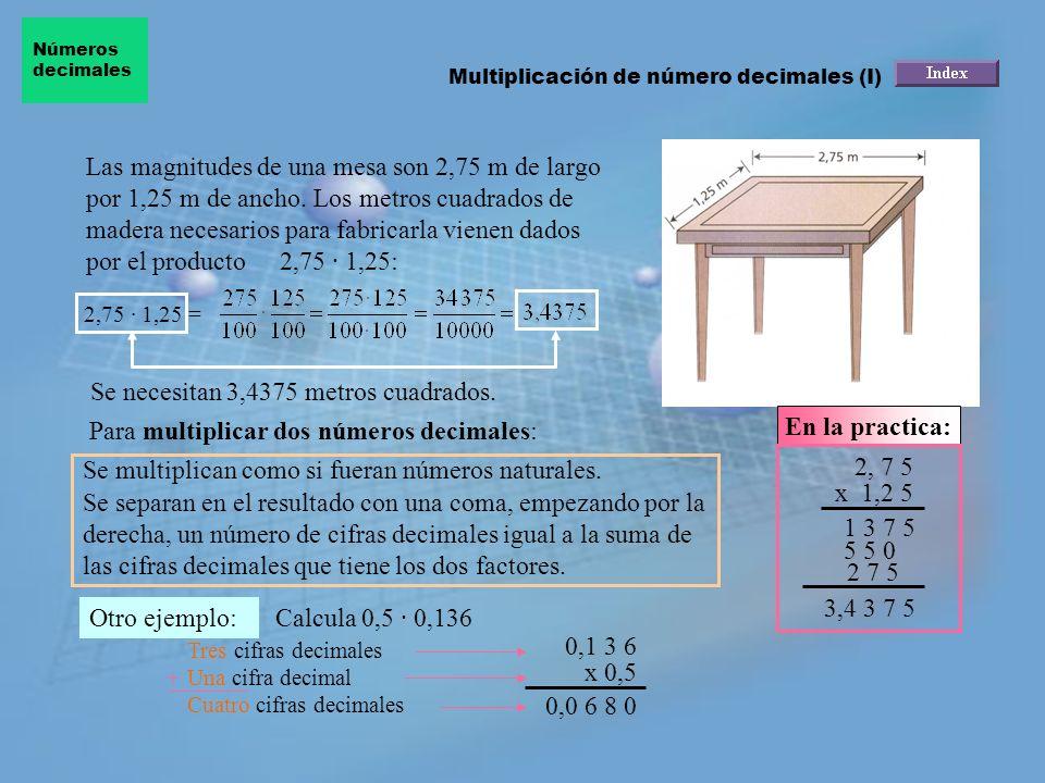 Las magnitudes de una mesa son 2,75 m de largo por 1,25 m de ancho.