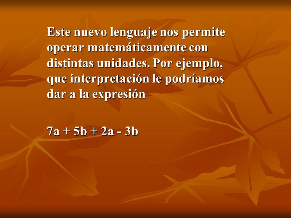 En primer lugar, que tenemos unidades distintas de cosas, que hay objetos de la clase a , y objetos de la clase b , donde por ejemplo a represente un disco de CD de música rock y b represente un billete de mil pesos , de manera que la expresión 7a + 5b + 2a - 3b