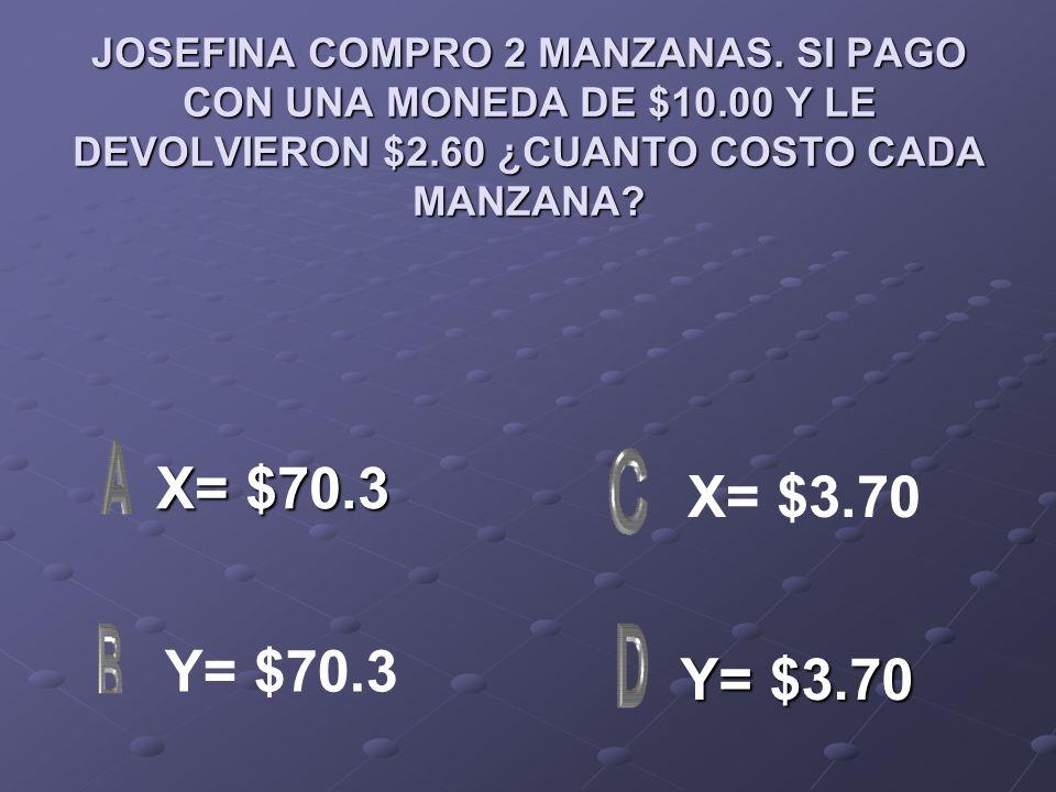 JOSEFINA COMPRO 2 MANZANAS. SI PAGO CON UNA MONEDA DE $10.00 Y LE DEVOLVIERON $2.60 ¿CUANTO COSTO CADA MANZANA? X= $70.3 X= $70.3 Y= $3.70 Y= $3.70 X=