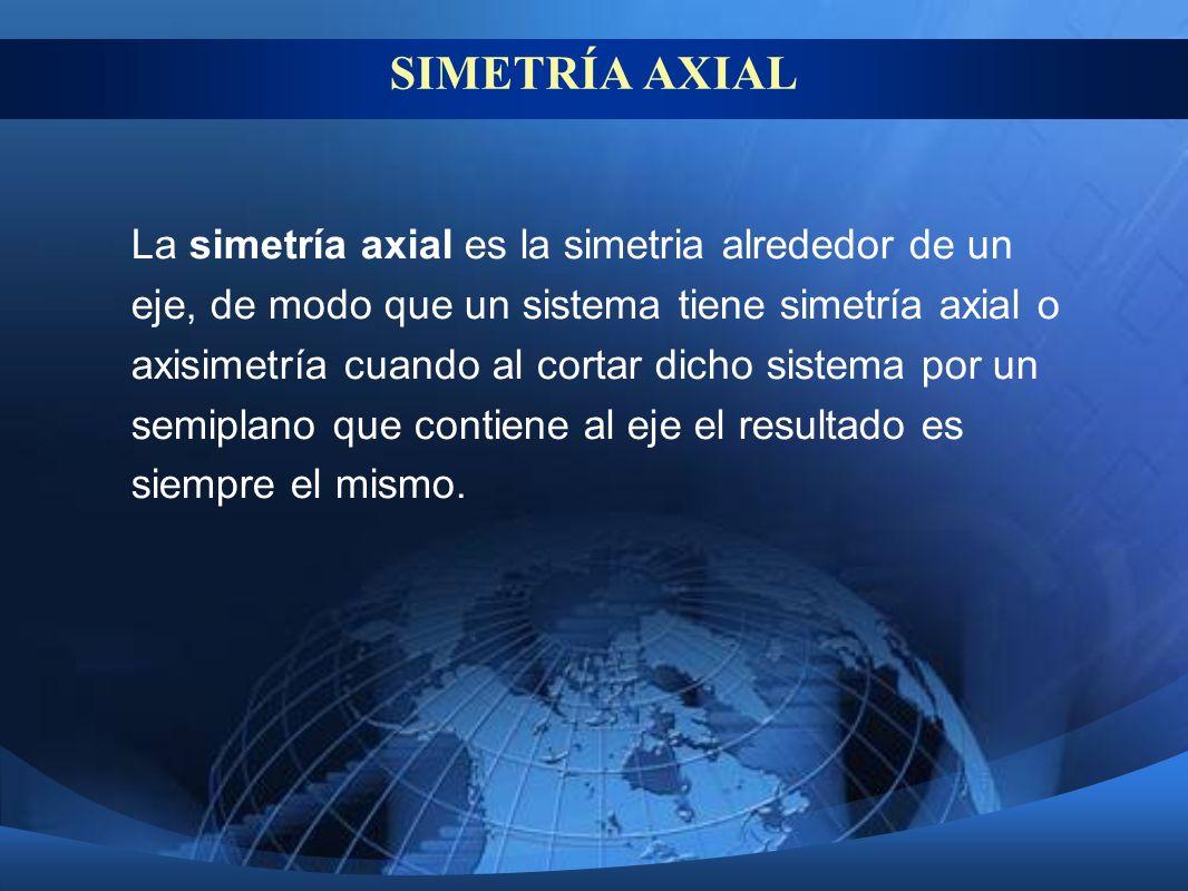 SIMETRÍA AXIAL La simetría axial es la simetria alrededor de un eje, de modo que un sistema tiene simetría axial o axisimetría cuando al cortar dicho