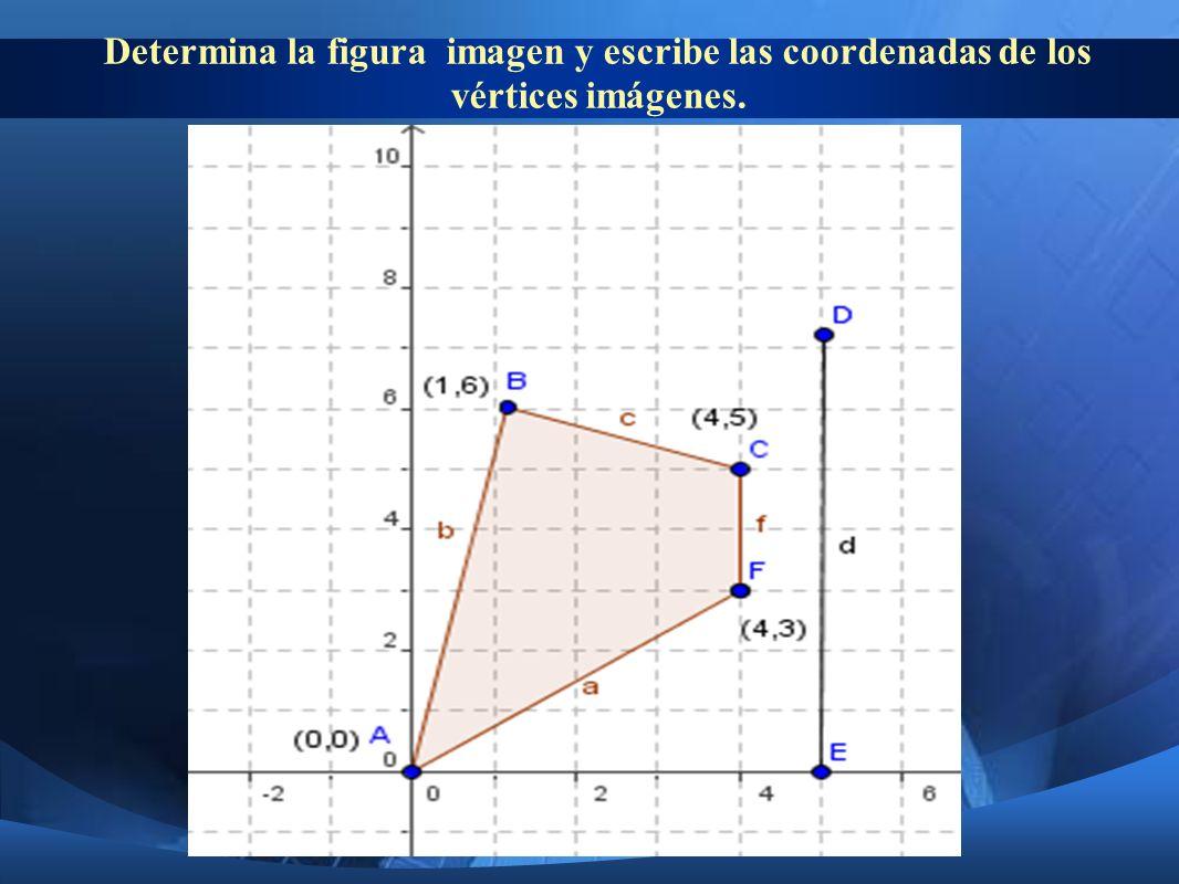 Determina la figura imagen y escribe las coordenadas de los vértices imágenes.