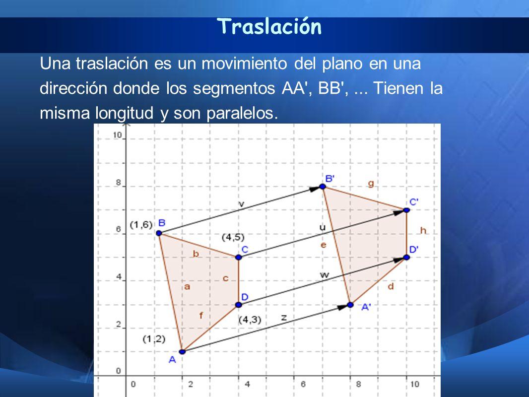 Traslación Una traslación es un movimiento del plano en una dirección donde los segmentos AA', BB',... Tienen la misma longitud y son paralelos.
