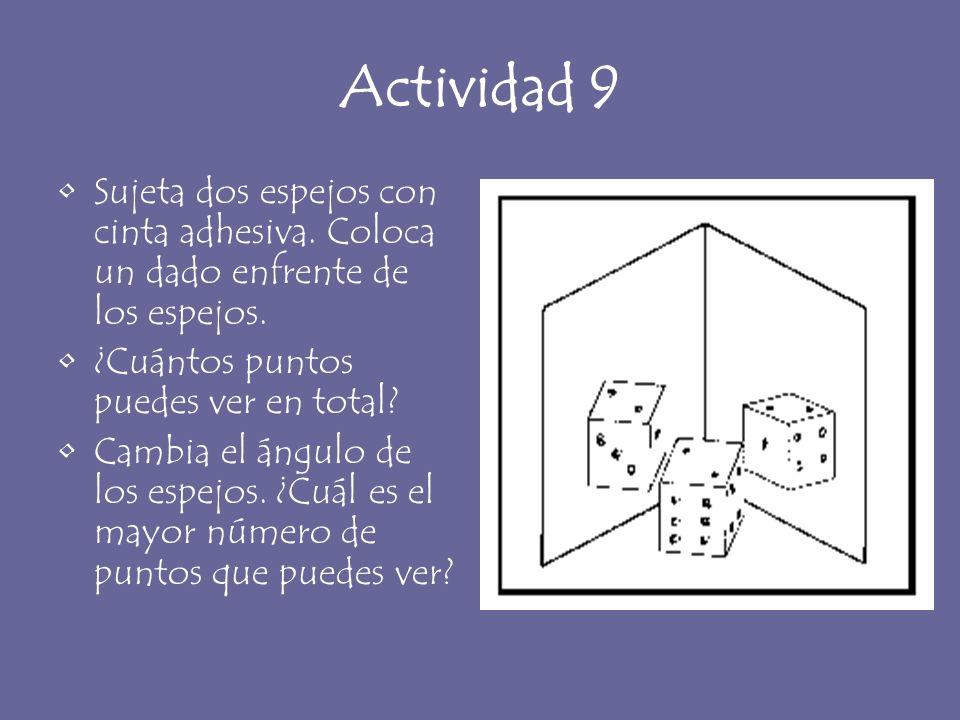Actividad 9 Sujeta dos espejos con cinta adhesiva. Coloca un dado enfrente de los espejos. ¿Cuántos puntos puedes ver en total? Cambia el ángulo de lo
