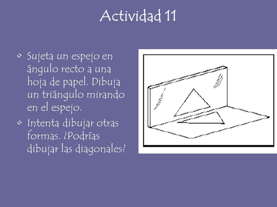Actividad 11 Sujeta un espejo en ángulo recto a una hoja de papel. Dibuja un triángulo mirando en el espejo. Intenta dibujar otras formas. ¿Podrías di