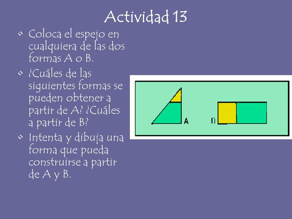 Actividad 13 Coloca el espejo en cualquiera de las dos formas A o B. ¿Cuáles de las siguientes formas se pueden obtener a partir de A? ¿Cuáles a parti