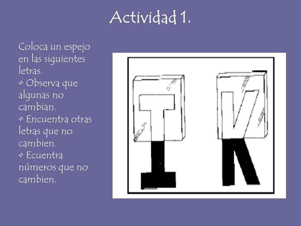 Actividad 1. Coloca un espejo en las siguientes letras. Observa que algunas no cambian. Encuentra otras letras que no cambien. Ecuentra números que no
