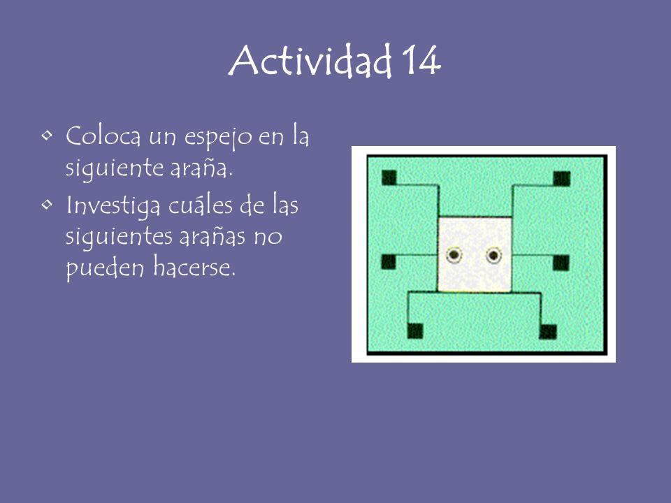 Actividad 14 Coloca un espejo en la siguiente araña. Investiga cuáles de las siguientes arañas no pueden hacerse.
