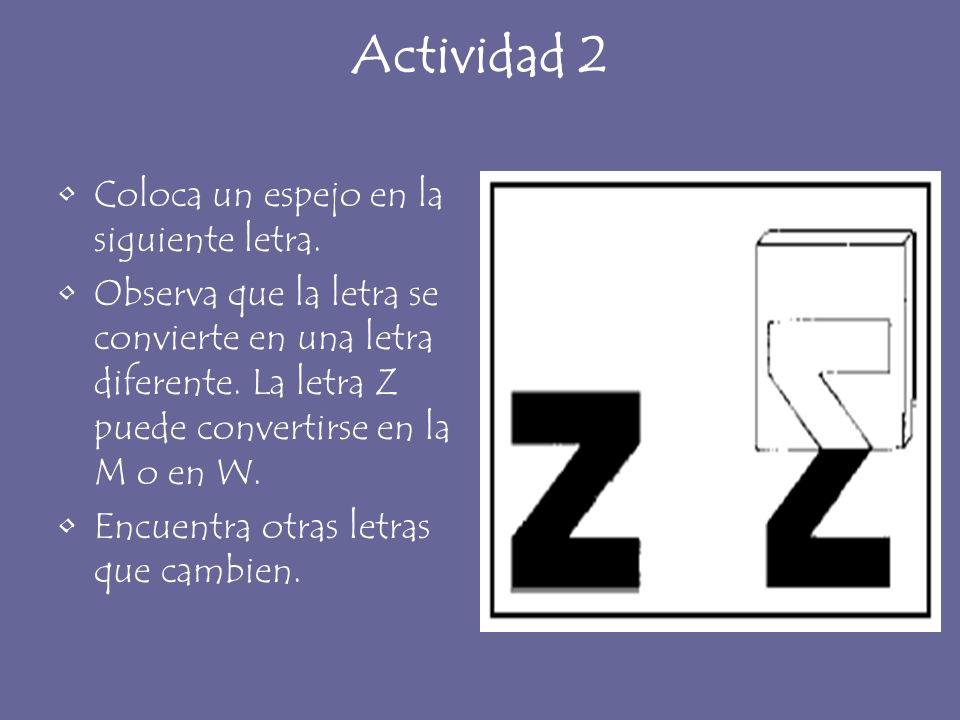Actividad 2 Coloca un espejo en la siguiente letra. Observa que la letra se convierte en una letra diferente. La letra Z puede convertirse en la M o e
