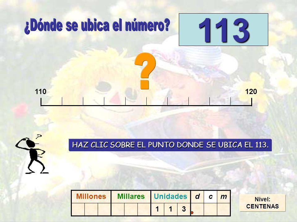 Nivel:CENTENAS 110120 113 HAZ CLIC SOBRE EL PUNTO DONDE SE UBICA EL 113.