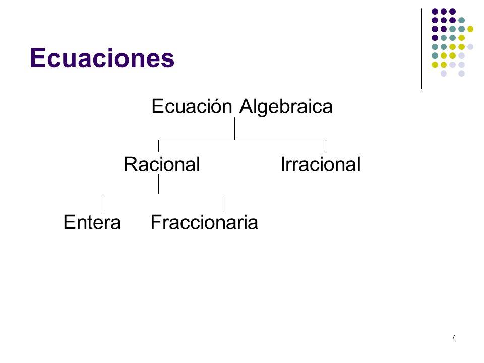 8 Ecuaciones Algebraicas Si tiene una sola cantidad desconocida diremos que es una ecuación con una incógnita.