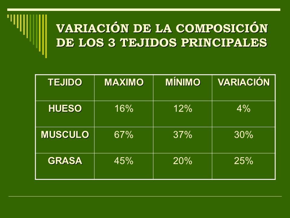 VARIACIÓN DE LA COMPOSICIÓN DE LOS 3 TEJIDOS PRINCIPALES TEJIDOMAXIMOMÍNIMOVARIACIÓN HUESO16%12%4% MUSCULO67%37%30% GRASA45%20%25%