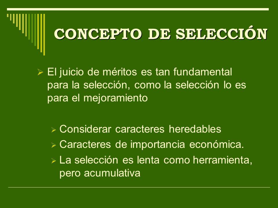 CONCEPTO DE SELECCIÓN El juicio de méritos es tan fundamental para la selección, como la selección lo es para el mejoramiento Considerar caracteres he