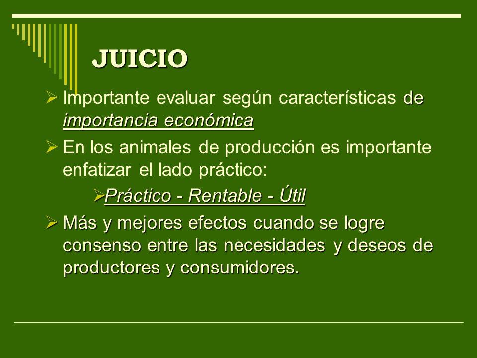 JUICIO de importancia económica Importante evaluar según características de importancia económica En los animales de producción es importante enfatiza