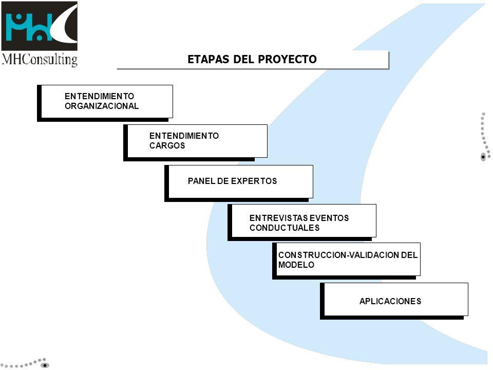 ETAPAS DEL PROYECTO ENTENDIMIENTO ORGANIZACIONAL ENTENDIMIENTO CARGOS PANEL DE EXPERTOS ENTREVISTAS EVENTOS CONDUCTUALES CONSTRUCCION-VALIDACION DEL M