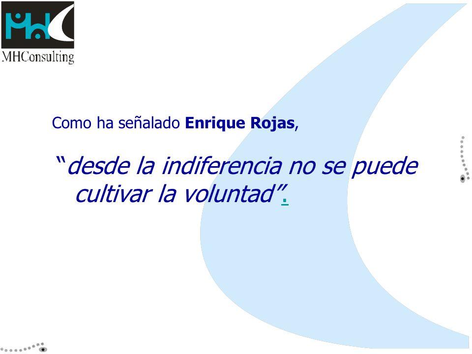 Como ha señalado Enrique Rojas, desde la indiferencia no se puede cultivar la voluntad..