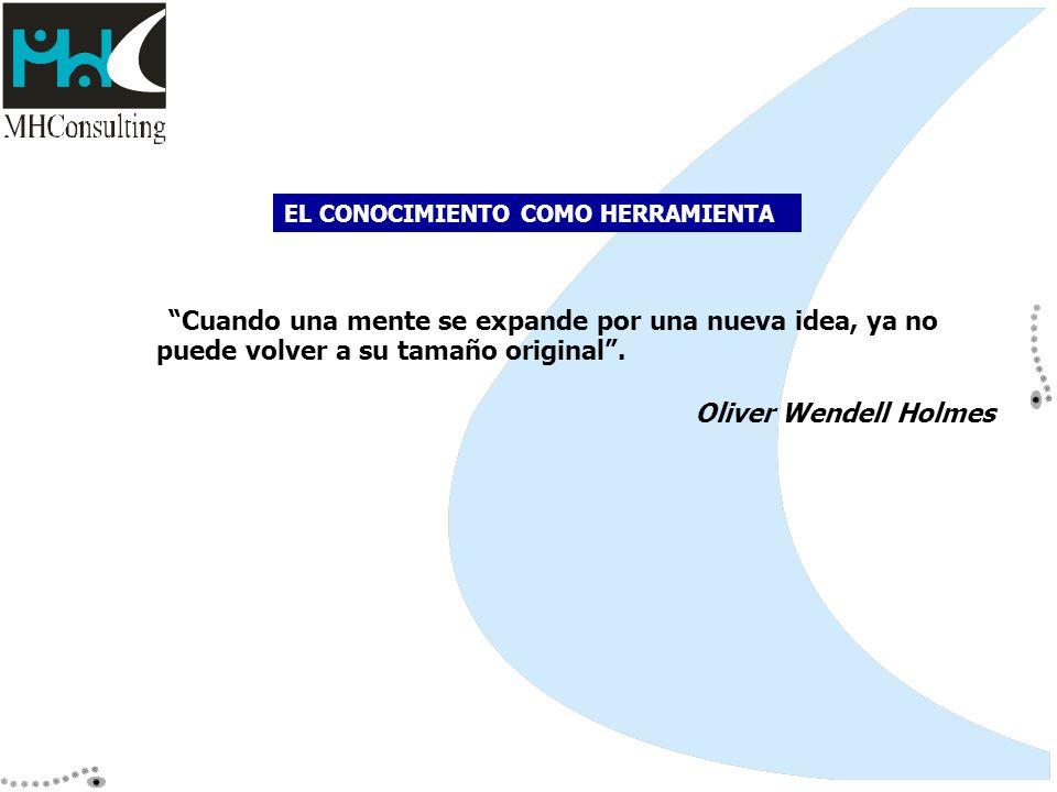 Cuando una mente se expande por una nueva idea, ya no puede volver a su tamaño original. Oliver Wendell Holmes EL CONOCIMIENTO COMO HERRAMIENTA