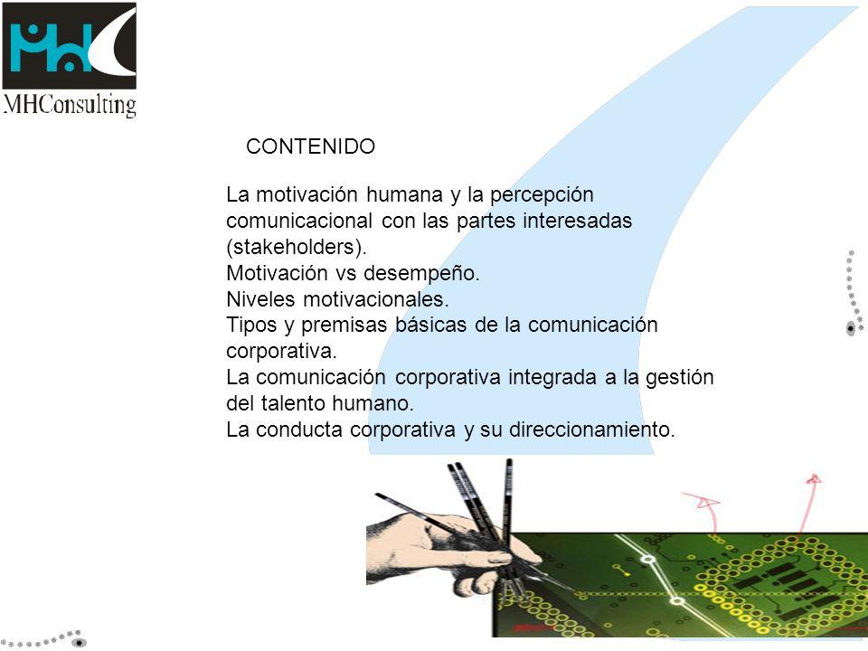 La motivación humana y la percepción comunicacional con las partes interesadas (stakeholders). Motivación vs desempeño. Niveles motivacionales. Tipos