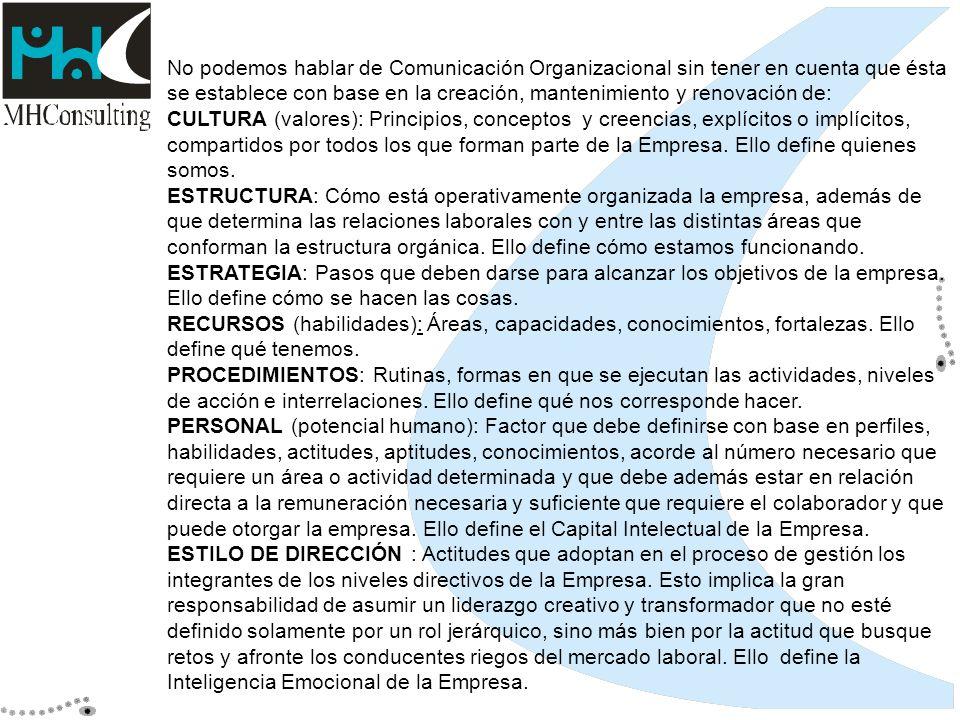 No podemos hablar de Comunicación Organizacional sin tener en cuenta que ésta se establece con base en la creación, mantenimiento y renovación de: CUL