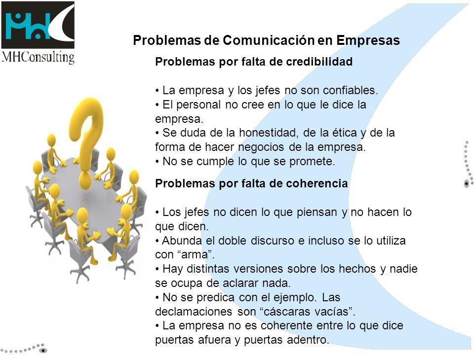 Problemas de Comunicación en Empresas Problemas por falta de credibilidad La empresa y los jefes no son confiables. El personal no cree en lo que le d