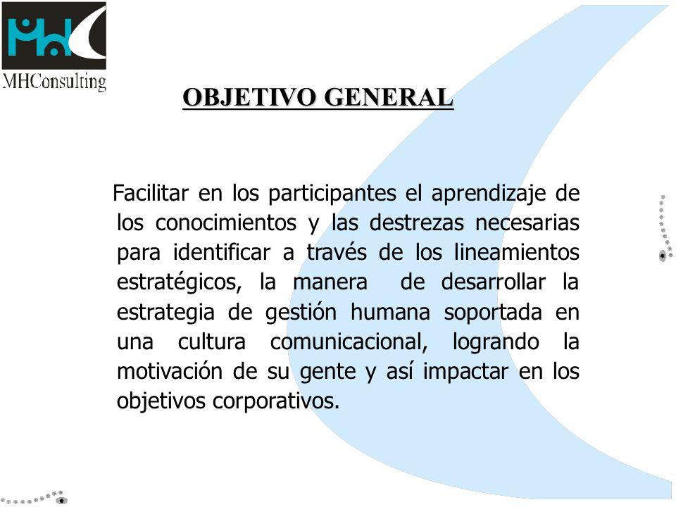 OBJETIVO GENERAL Facilitar en los participantes el aprendizaje de los conocimientos y las destrezas necesarias para identificar a través de los lineam