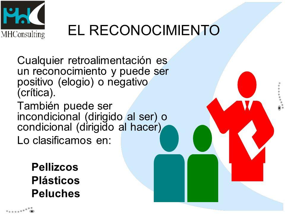 EL RECONOCIMIENTO Cualquier retroalimentación es un reconocimiento y puede ser positivo (elogio) o negativo (crítica). También puede ser incondicional