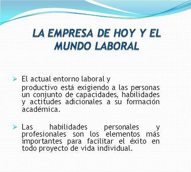 El actual entorno laboral y productivo está exigiendo a las personas un conjunto de capacidades, habilidades y actitudes adicionales a su formación ac