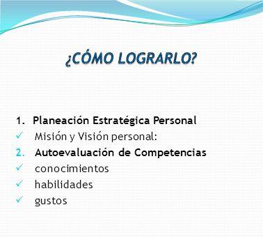 1. Planeación Estratégica Personal Misión y Visión personal: 2. Autoevaluación de Competencias conocimientos habilidades gustos