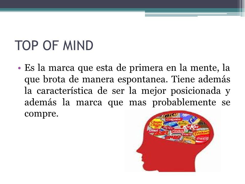 TOP OF MIND Es la marca que esta de primera en la mente, la que brota de manera espontanea. Tiene además la característica de ser la mejor posicionada