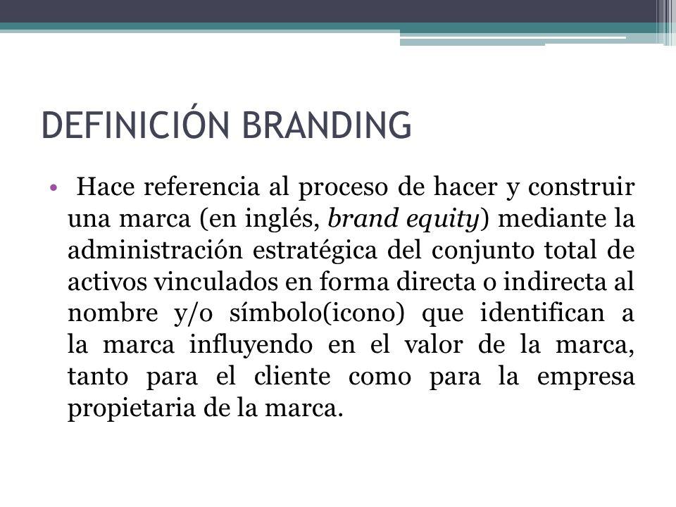 DEFINICIÓN BRANDING Hace referencia al proceso de hacer y construir una marca (en inglés, brand equity) mediante la administración estratégica del con
