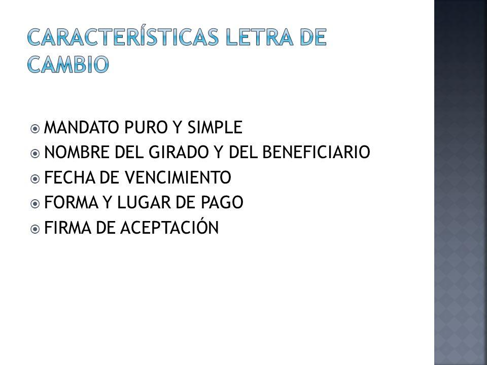 MANDATO PURO Y SIMPLE NOMBRE DEL GIRADO Y DEL BENEFICIARIO FECHA DE VENCIMIENTO FORMA Y LUGAR DE PAGO FIRMA DE ACEPTACIÓN