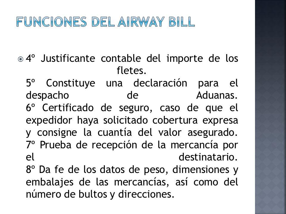 4º Justificante contable del importe de los fletes. 5º Constituye una declaración para el despacho de Aduanas. 6º Certificado de seguro, caso de que e