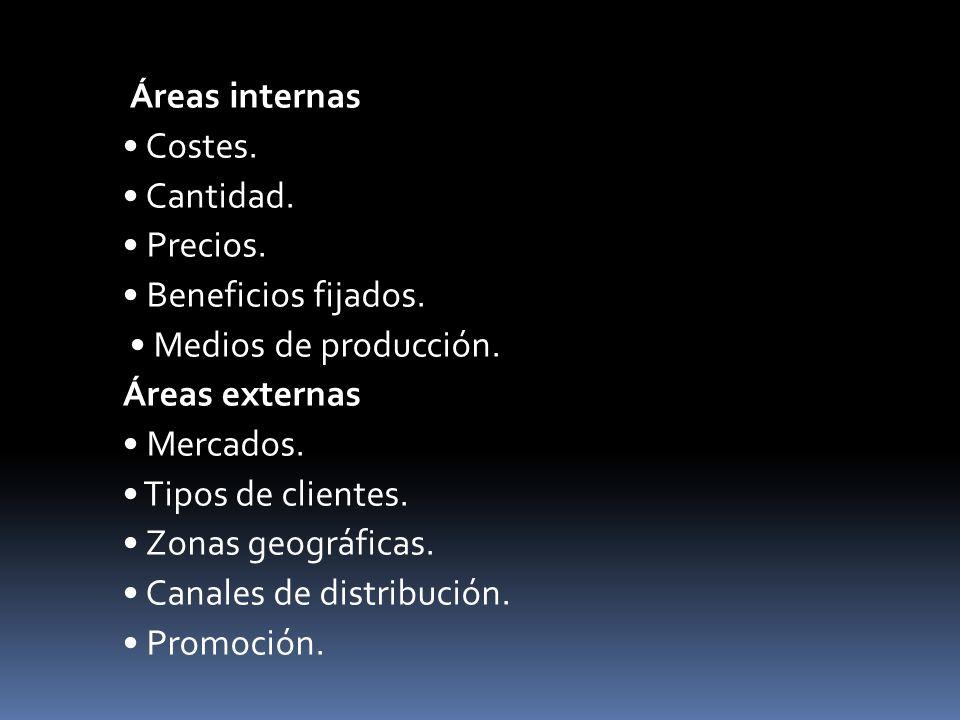 Áreas internas Costes. Cantidad. Precios. Beneficios fijados. Medios de producción. Áreas externas Mercados. Tipos de clientes. Zonas geográficas. Can