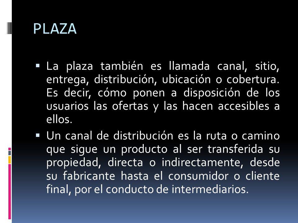 PLAZA La plaza también es llamada canal, sitio, entrega, distribución, ubicación o cobertura. Es decir, cómo ponen a disposición de los usuarios las o