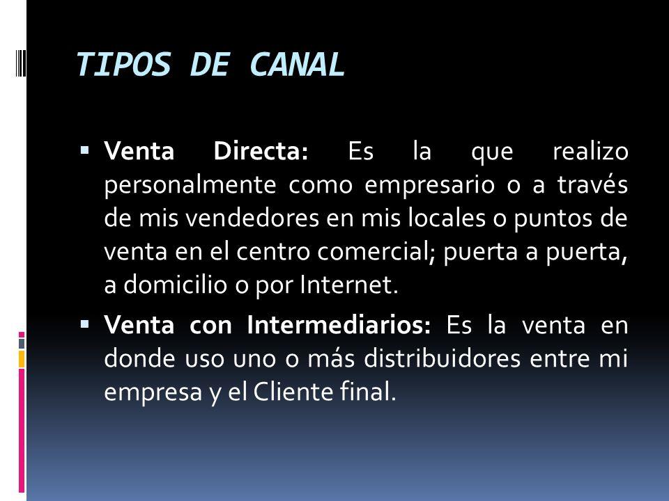 TIPOS DE CANAL Venta Directa: Es la que realizo personalmente como empresario o a través de mis vendedores en mis locales o puntos de venta en el cent