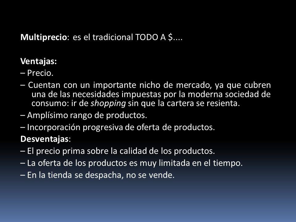 Multiprecio: es el tradicional TODO A $.... Ventajas: – Precio. – Cuentan con un importante nicho de mercado, ya que cubren una de las necesidades imp