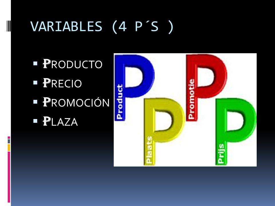 VARIABLES (4 P´S ) P RODUCTO P RECIO P ROMOCIÓN P LAZA