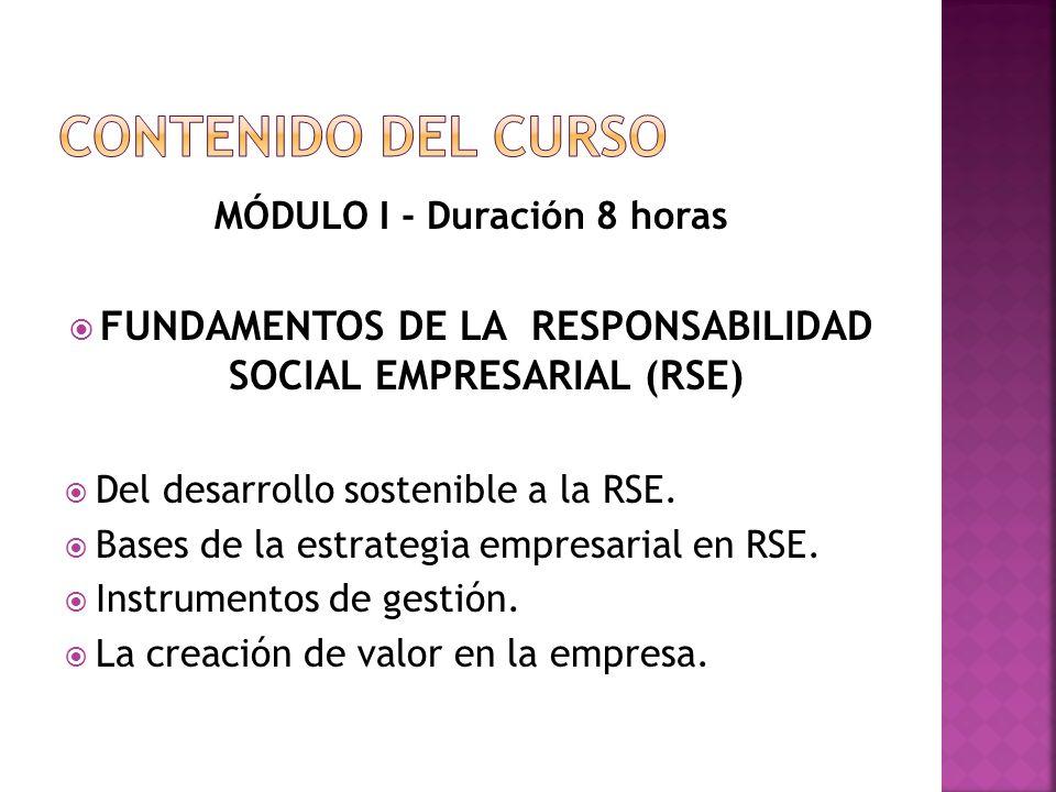 MÓDULO I - Duración 8 horas FUNDAMENTOS DE LA RESPONSABILIDAD SOCIAL EMPRESARIAL (RSE) Del desarrollo sostenible a la RSE.