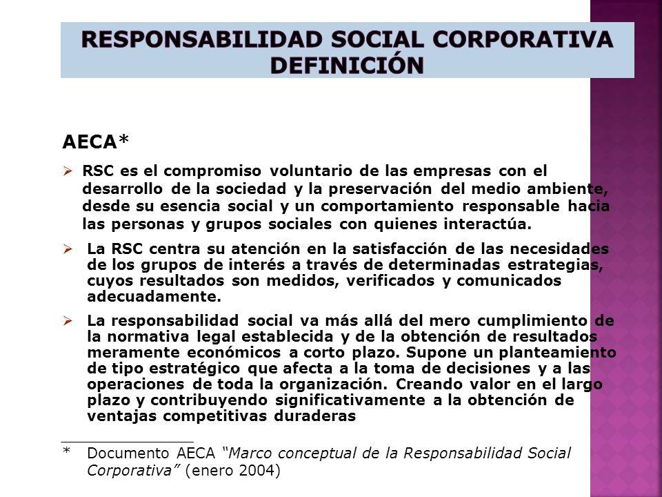 AECA* RSC es el compromiso voluntario de las empresas con el desarrollo de la sociedad y la preservación del medio ambiente, desde su esencia social y un comportamiento responsable hacia las personas y grupos sociales con quienes interactúa.