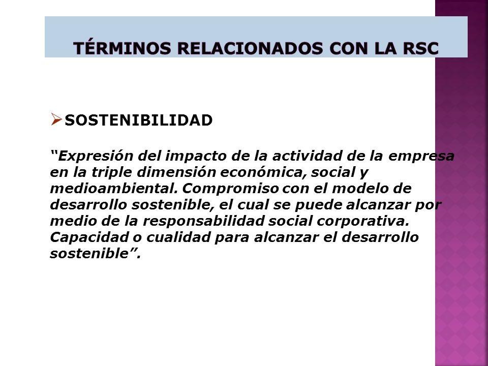 SOSTENIBILIDAD Expresión del impacto de la actividad de la empresa en la triple dimensión económica, social y medioambiental.