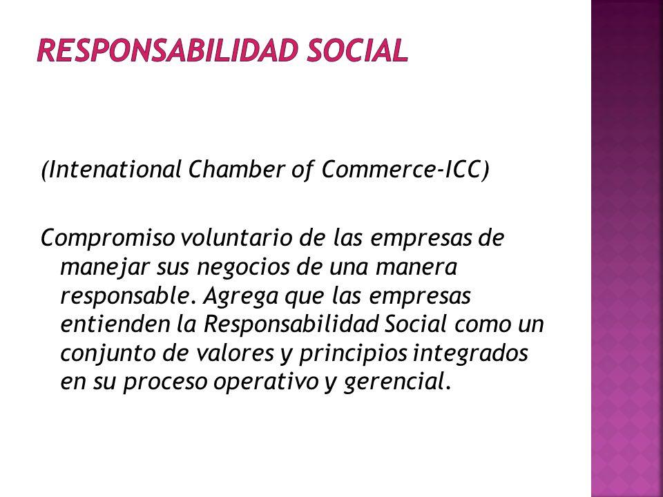 (Intenational Chamber of Commerce-ICC) Compromiso voluntario de las empresas de manejar sus negocios de una manera responsable.