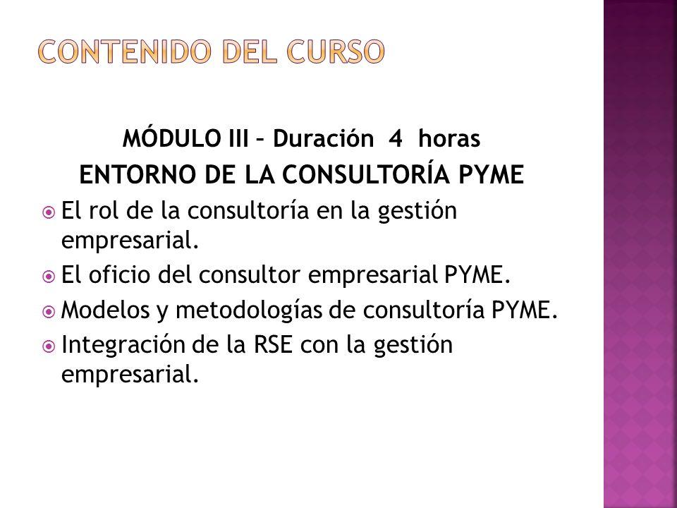MÓDULO III – Duración 4 horas ENTORNO DE LA CONSULTORÍA PYME El rol de la consultoría en la gestión empresarial.