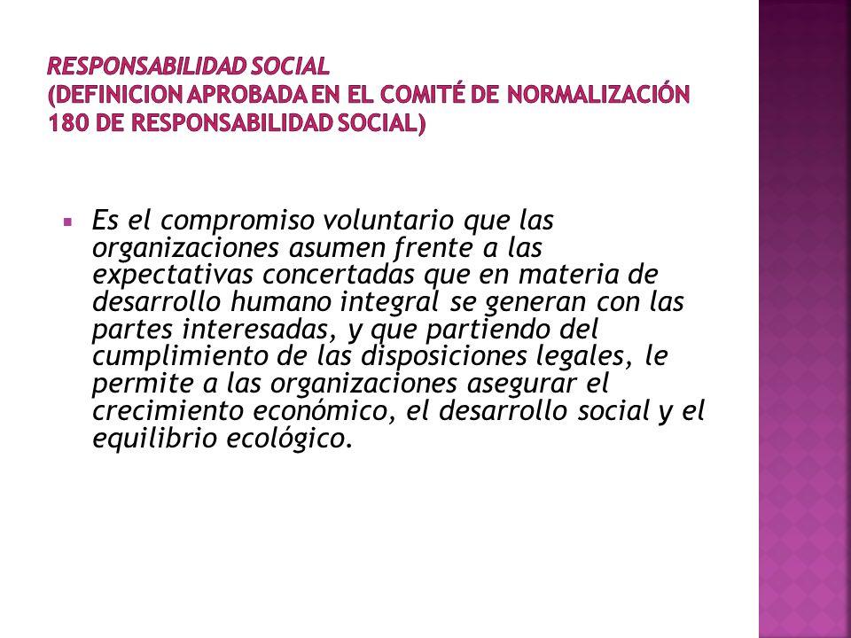 Es el compromiso voluntario que las organizaciones asumen frente a las expectativas concertadas que en materia de desarrollo humano integral se generan con las partes interesadas, y que partiendo del cumplimiento de las disposiciones legales, le permite a las organizaciones asegurar el crecimiento económico, el desarrollo social y el equilibrio ecológico.