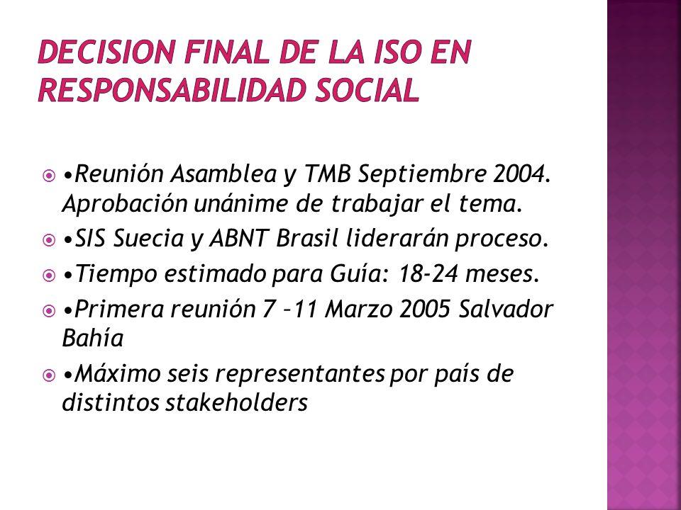 Reunión Asamblea y TMB Septiembre 2004.Aprobación unánime de trabajar el tema.