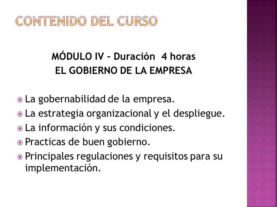 MÓDULO IV - Duración 4 horas EL GOBIERNO DE LA EMPRESA La gobernabilidad de la empresa.