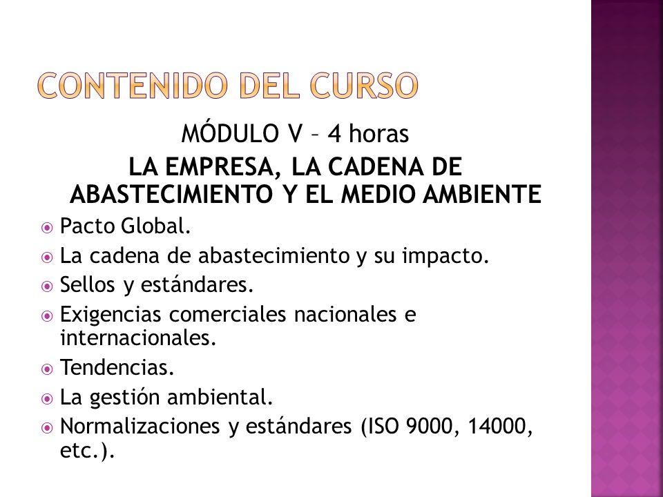 MÓDULO V – 4 horas LA EMPRESA, LA CADENA DE ABASTECIMIENTO Y EL MEDIO AMBIENTE Pacto Global.