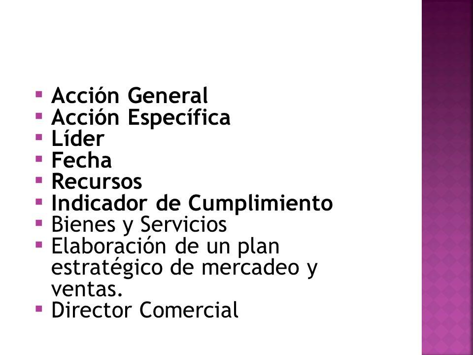 Acción General Acción Específica Líder Fecha Recursos Indicador de Cumplimiento Bienes y Servicios Elaboración de un plan estratégico de mercadeo y ventas.