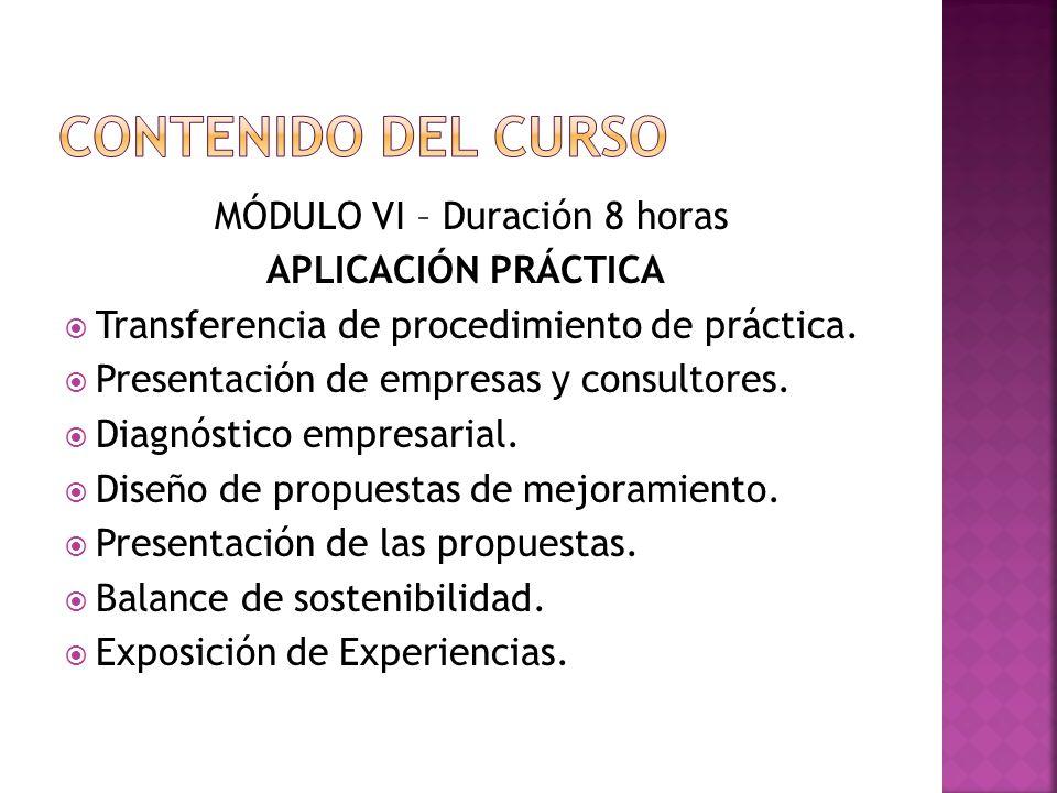 MÓDULO VI – Duración 8 horas APLICACIÓN PRÁCTICA Transferencia de procedimiento de práctica.