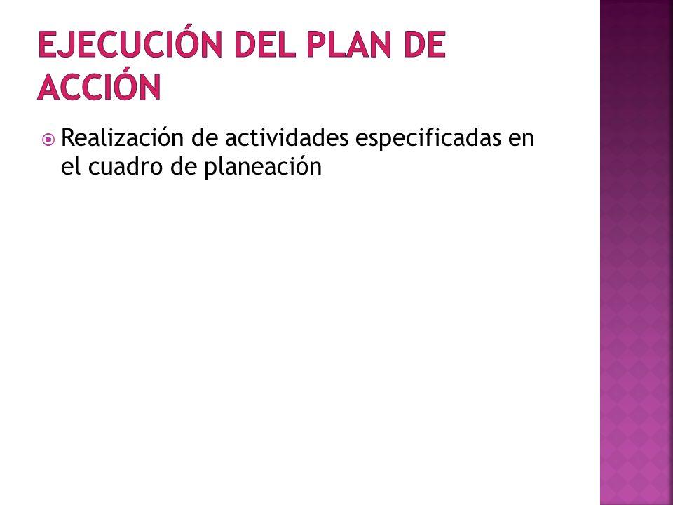 Realización de actividades especificadas en el cuadro de planeación