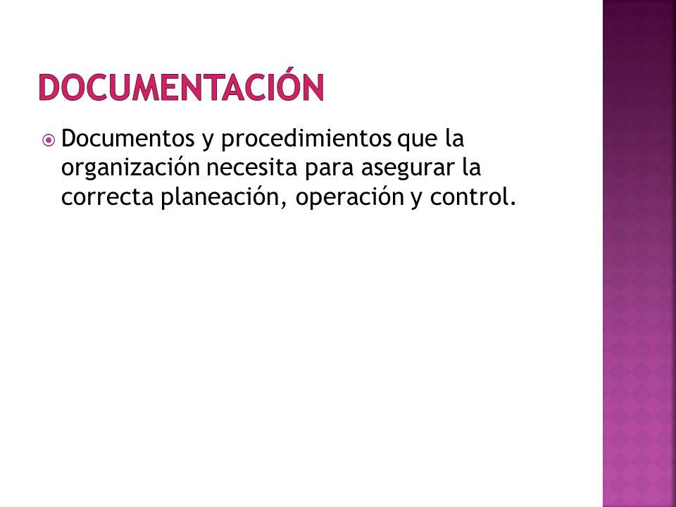 Documentos y procedimientos que la organización necesita para asegurar la correcta planeación, operación y control.